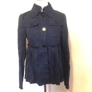 Zara Jacket Linen Coat Button Up Navy Pleat M